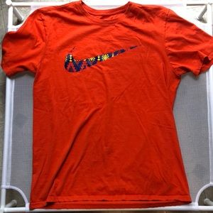 Nike Orange Swoosh Tee Aztec Design Large